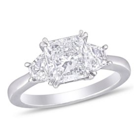 Allura 2.45 CT. T.W. Radiant-Cut Diamond Three Stone Engagement Ring in 18k White Gold