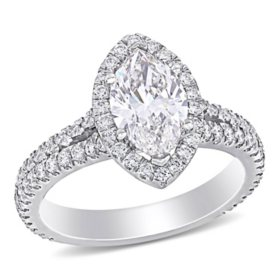Allura 2.28 CT. T.W. Marquise and Round-Cut Diamond Halo Engagement Ring in 18k White Gold