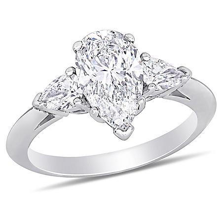 Allura 2.58 CT. T.W. Pear-Cut Diamond 3-Stone Engagement Ring in 18k White Gold