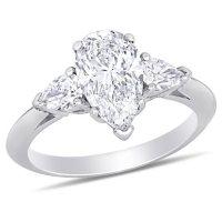 Allura 2.58 CT. T.W. Pear-Cut Diamond Three Stone Engagement Ring in 18k White Gold