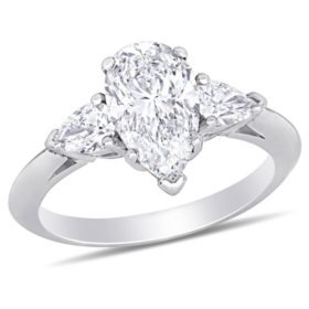 Allura 2.58 CT. T.W. Pear-Cut Diamond 3-Stone Engagement Ring in 18k White Gold