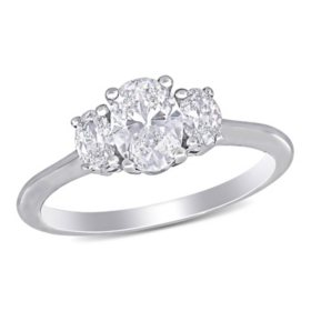 Elegance by Allura 1.22 CT. T.W. Oval-Cut Diamond Three Stone Engagement Ring in 18k White Gold