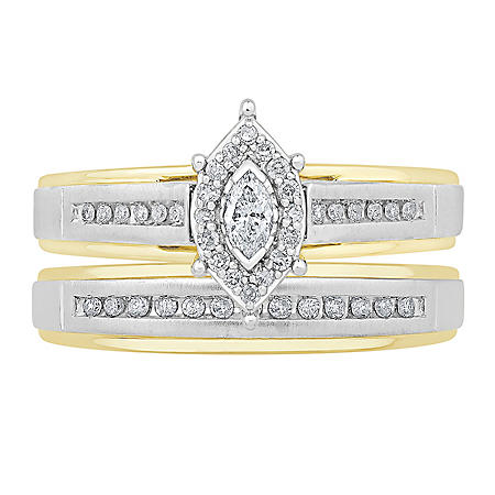0.24 CT. T.W. Marquise Frame Design Diamond Wedding Ring Set in 14K Two-Tone Gold