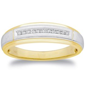 0.06 CT. T.W. Men's Diamond Wedding Band in 14k Two-Tone Gold