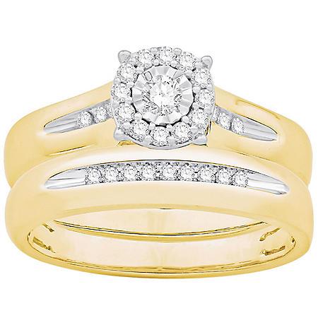 0.23 CT. T.W. Round Halo Diamond Wedding Set in 14k Yellow Gold