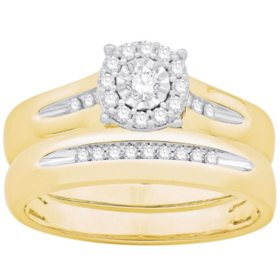 0.23 CT. T.W. Round Halo Diamond Wedding Set in 14k Yellow Gold