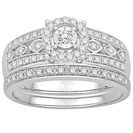 0.41 CT. T.W. Vintage Design Diamond Wedding Set in 14k White Gold