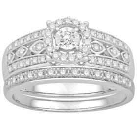 0.41 CT. T.W. Vintage Design Diamond Wedding Set in 14k White Gold