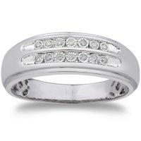0.09 CT. T.W. Men's Diamond Wedding Band in 14k White Gold