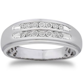 0.09 CT. T.W. Men's Diamond Wedding Band in 14k White Gold