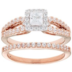 1.00 CT. T.W. Princess Diamond Engagement Ring and Band in 14K Gold (I, I1)
