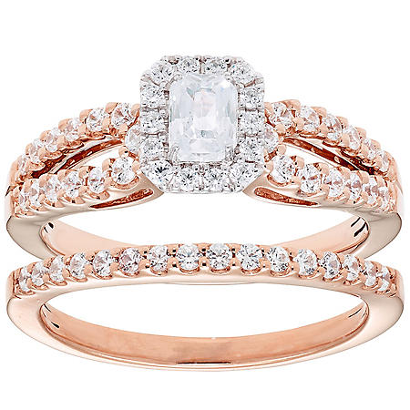 1.00 CT. T.W. Emerald Cut Diamond Engagement Ring and Band in 14K Gold (I, I1)