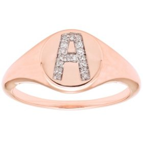 Diamond Initial Signet Ring in 14k Rose Gold (I, I1)