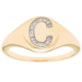 Diamond Initial Signet Ring in 14k Yellow Gold (I, I1)
