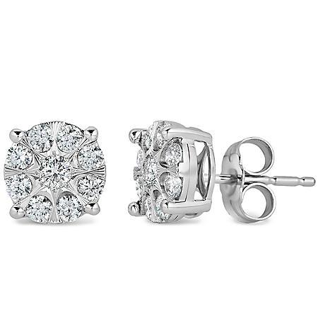 0.46 CT. T.W. Diamond Cluster Earrings in 14K White Gold