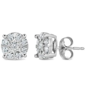 0.46 CT. T.W. Diamond Cluster Earrings in 14K White Gold