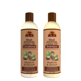 OKAY Black Jamaican Castor Oil Moisture Growth Shampoo and Conditioner - Sulfate, Silicone, Paraben Free (12 oz., 2pk.)