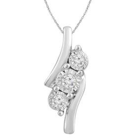 0.12 CT. T.W. Diamond Pendant in 14k White Gold
