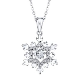 925 Sterling Silver Dancing Lab Created White Sapphire and 0.09 CT. T.W. Diamond Snowflake Pendant