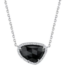 925 Sterling Silver Hematine and 0.12 CT. T.W. Diamond Pendant