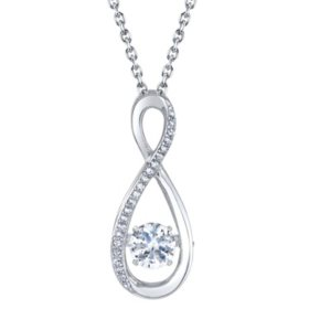 Sterling Silver Dancing Gemstone Infinity with 0.06 CT. T.W. Diamonds Pendant
