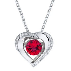 Sterling Silver Dancing Gemstone Heart with 0.07 CT. T.W. Diamonds Pendant