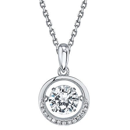 Sterling Silver Dancing Gemstone Circle with 0.05 CT. T.W. Diamonds Pendant