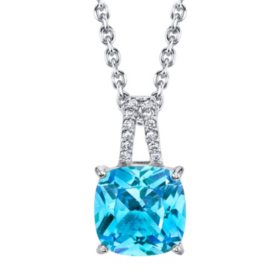 Sterling Silver Gemstone and Diamond Accent Pendant