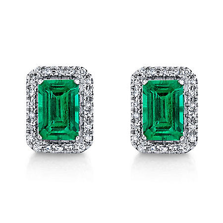 925 Sterling Silver Lab Created Emerald and 0.11 CT. T.W. Diamond Stud Earrings