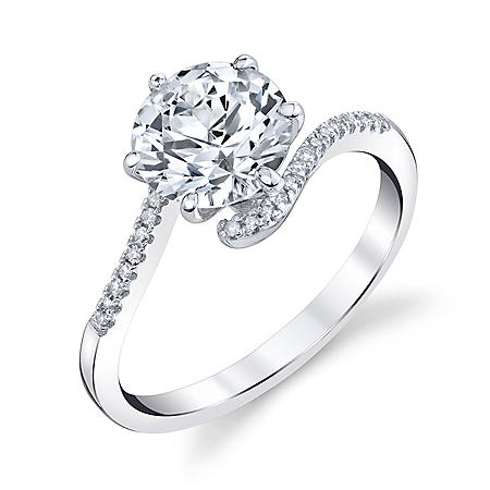 14K White Gold Lab Created White Sapphire and 0.08 CT. T.W. Diamond Ring