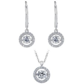 925 Sterling Silver Dancing Lab Created White Sapphire Pendant and Earring Set