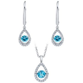 925 Sterling Silver Dancing Blue Topaz and Lab Created White Sapphire Pendant and Earring Set