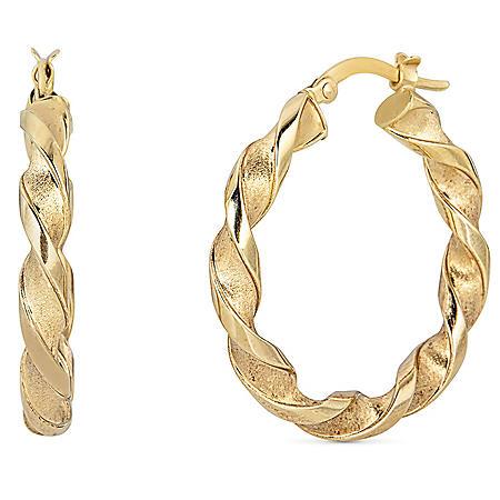 14K Yellow Gold Twist Hoop Earrings, 4x28mm