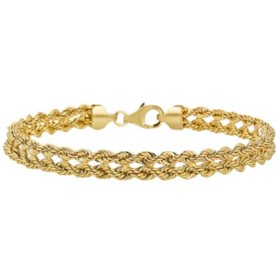 14K Yellow Gold Kissing Heart Bracelet, 7.50""