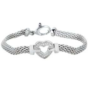 0.12 CT. T.W. Diamond Heart Bracelet in Italian Sterling Silver