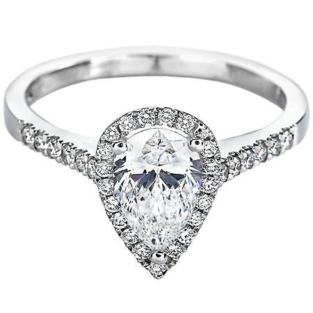 Premier Diamond Collection 1.26 CT. T.W. Pear Shape Diamond Halo Ring in 18K White Gold - GIA & IGI (F, SI1)