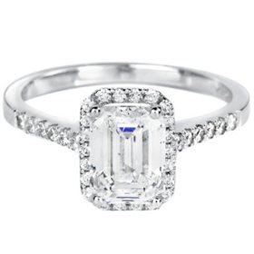 Premier Diamond Collection 2.21 CT. T.W. Emerald Shape Diamond Halo Ring in 18K White Gold - GIA & IGI (F, SI1)