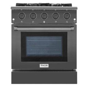 Thor Kitchen Gas Range in Black Stainless Steel (CHOOSE: Size)