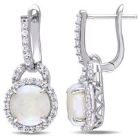 Opal and White Topaz Hinged Hoop Halo Earrings in Sterling Silver