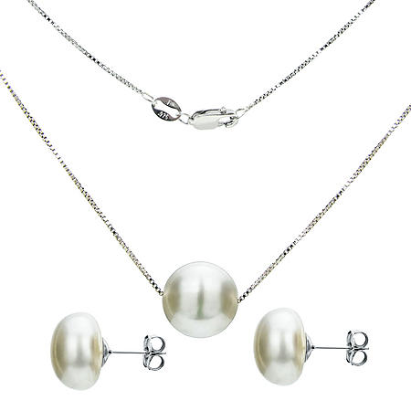 """Sterling Silver 11-12mm Freshwater Pearl Swivel Box Chain Pendant 18"""" and Matching Earring Set"""