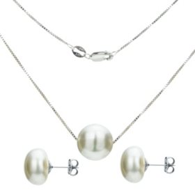 "Sterling Silver 11-12mm Freshwater Pearl Swivel Box Chain Pendant 18"" and Matching Earring Set"