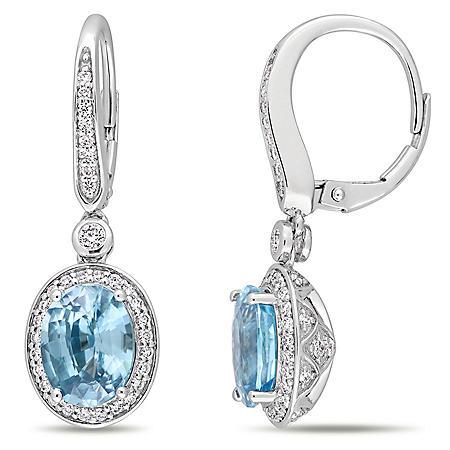 Allura 5.45 CT. T.G.W. Blue Zircon and 0.70 CT. T.W. Diamond Halo Dangle Earrings in 14K White Gold
