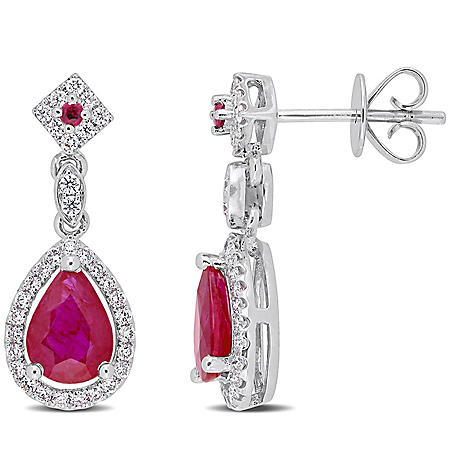 Allura 1.7 CT. T.G.W. Ruby and 0.3 CT. T.W. Diamond Teardrop Halo Earrings in 14k White Gold