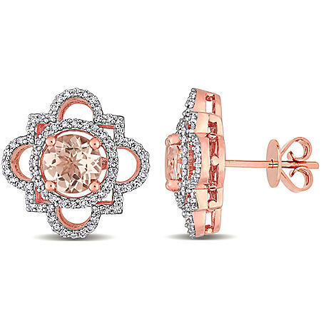 1.7 CT. T.G.W. Morganite and 0.5 CT. T.W. Diamond Quatrefoil Earrings in 14k Rose Gold