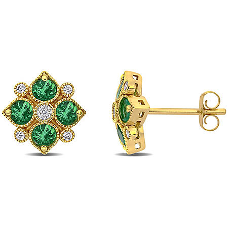 0.7 CT. Emerald and Diamond Accent Stud Earrings in 14k Yellow Gold
