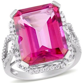 Allura 14.5 CT. T.G.W. Pink Topaz and 0.5 CT. T.W. Diamond Cocktail Ring in 14k White Gold