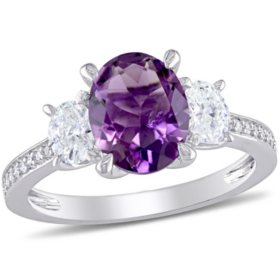 2 CT. T.G.W. Amethyst and 0.6 CT. T.W. Diamond Three-Stone Engagement Ring in 14k White Gold