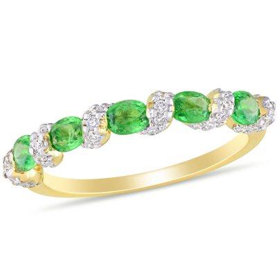 Details about  /0.16 ct Tsavorite Gemstone 0.09 ct Diamond 10x5 MM 14K 18K Solid Gold Earrings