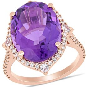 Allura 8.14 CT. T.G.W. Amethyst and White Sapphire with Diamond Accent Halo Cocktail Ring in 14k Rose Gold