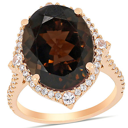 Allura 8.89 CT. T.G.W. Smoky Quartz and Diamond Accent Halo Cocktail Ring in 14K Rose Gold